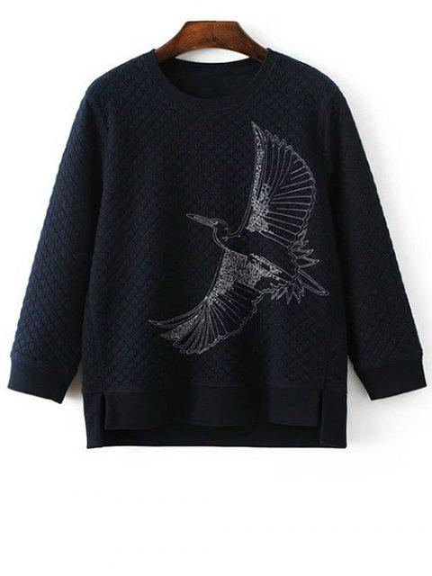 womens Bird Embroidered Crew Neck Sweatshirt - CADETBLUE L Mobile