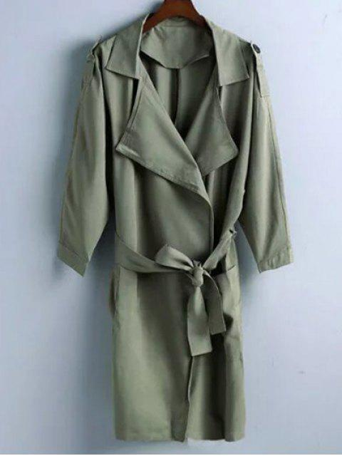 Manteau Lapel Belted Trench - Vert Olive   S Mobile