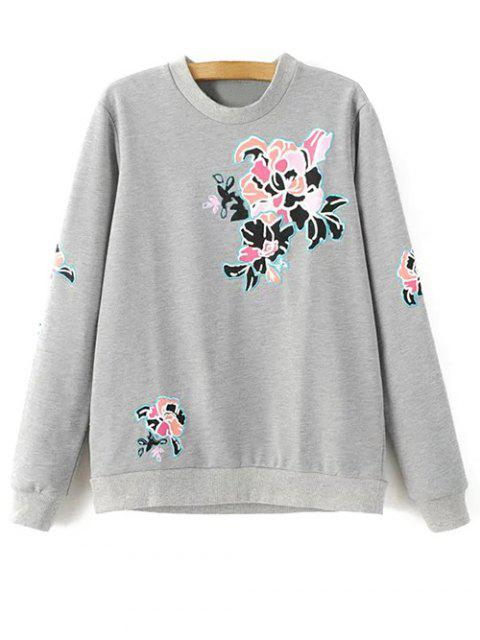 chic Floral Pattern Grey Sweatshirt - GRAY M Mobile