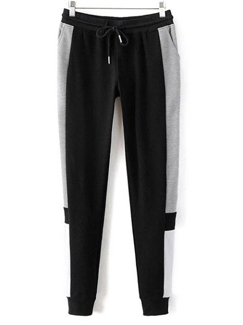 fashion Color Block Jogging Pants - BLACK S Mobile