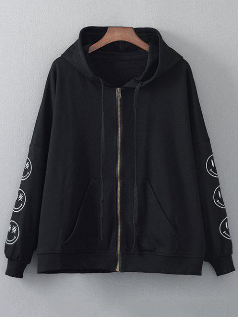 Cremallera sudadera con capucha bordada - Negro M Mobile