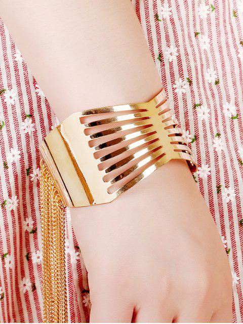 hot Cut Out Geometric Fringe Cuff Bracelet -   Mobile