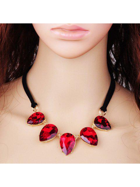 Collier Teardrop Élégant Faux cristal pour les femmes - Rouge  Mobile
