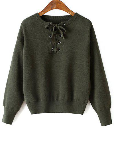 Lace-Up Round Neck Long Sleeve Sweater - Green