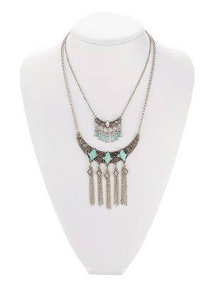 Faux Turquoise Geometric Fringe Necklace - Silver Gray
