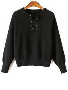 Lace-Up Round Neck Long Sleeve Sweater - Black