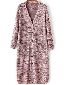 Buttons Snow-Dyeing Collarless Long Sleeve Cardigan - PURPLISH RED ONE SIZE