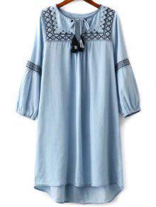 Vestir De Manga Larga Bordada De Cuello Redondo - Azul Claro L