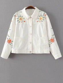 Floral Embroidered Turn-Down Collar Jacket - White M