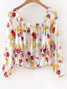 Fuera Del Hombro De La Impresión Floral De La Camiseta - Blanco M