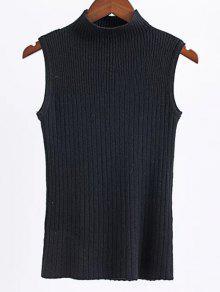 Sin Mangas De Cuello Alto Suéter - Negro