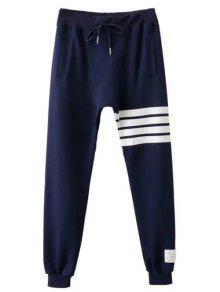 El Lazo De Rayas Pantalones Activo - Azul Purpúreo L
