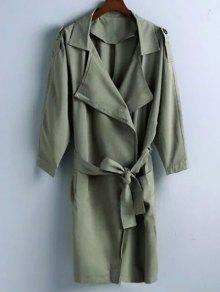 Manteau Lapel Belted Trench - Vert Olive   S