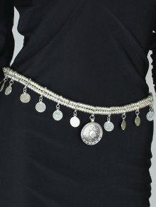Coin Tassel Belly Chain - Silver
