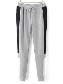 Color Block Jogging Pants - Gray S