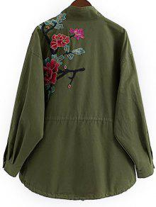 Floral Embroidered Utility Jacket ARMY GREEN: Jackets & Coats M ...