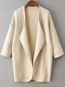 Solid Color Collarless 3/4 Sleeve Cardigan - Beige