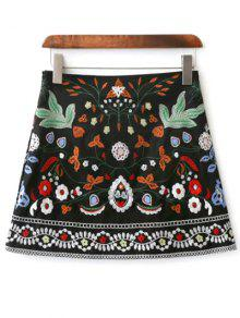 Mini Floral Embroidered Flare Skirt - Black S