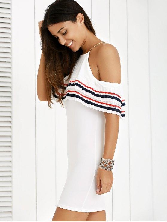 fancy Cami Striped Flounce Ruffles Cold Shoulder Dress - WHITE S