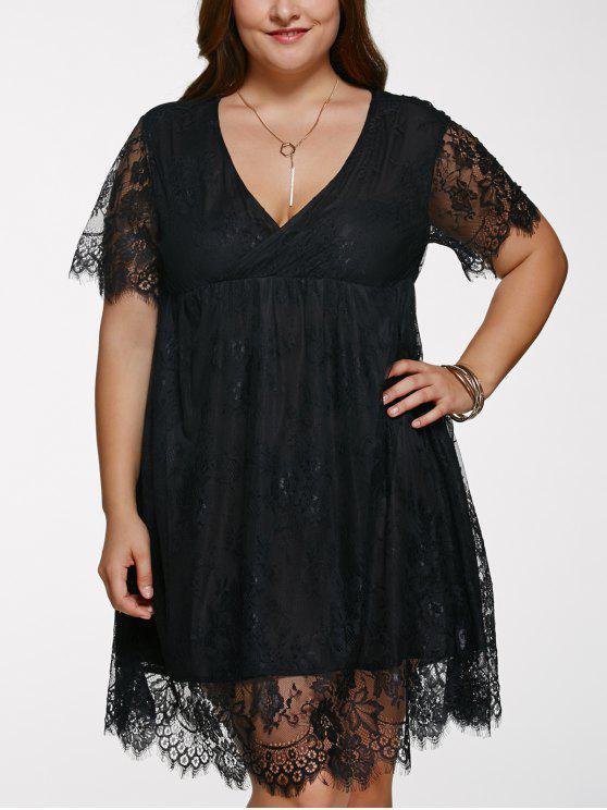 Übergröße Kurzes Abendkleid mit Spitze - Schwarz 2XL
