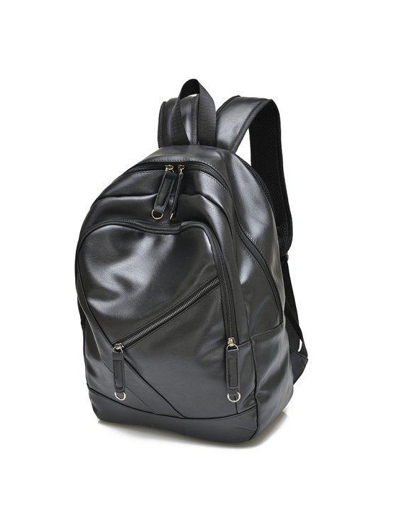 حقيبة الظهر عصري بلون الصلبة وسحاب للرجال - أسود