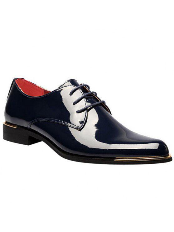 أزياء براءات الاختراع والجلود وربطة عنق تصميم أحذية رسمية للرجال - ازرق غامق 43