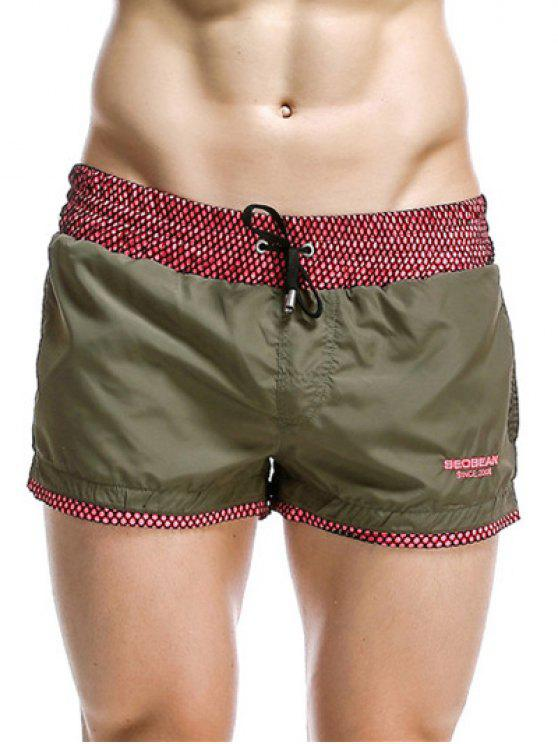ladies Casual Drawstring Waistband Loose Boxer Shorts - ARMY GREEN M