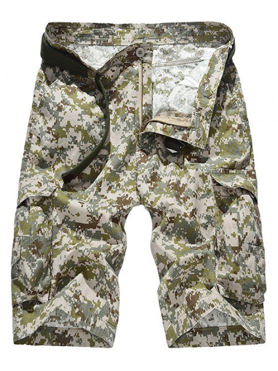 Zipper Fly Straight Leg Tarnmuster Taschen Design-Shorts für Männer - Khaki 36