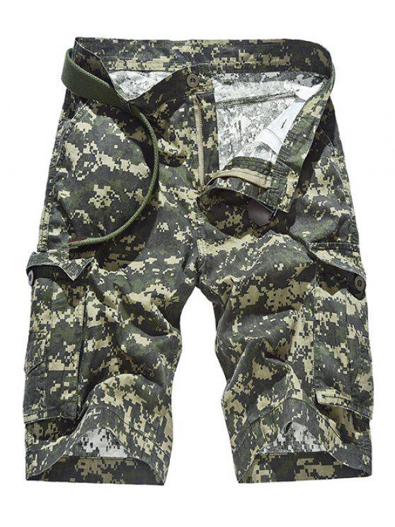 Cierre con cremallera patrón de la pierna recta camuflaje Bolsillos Diseño Pantalones cortos para los hombres - Verde del ejército 40