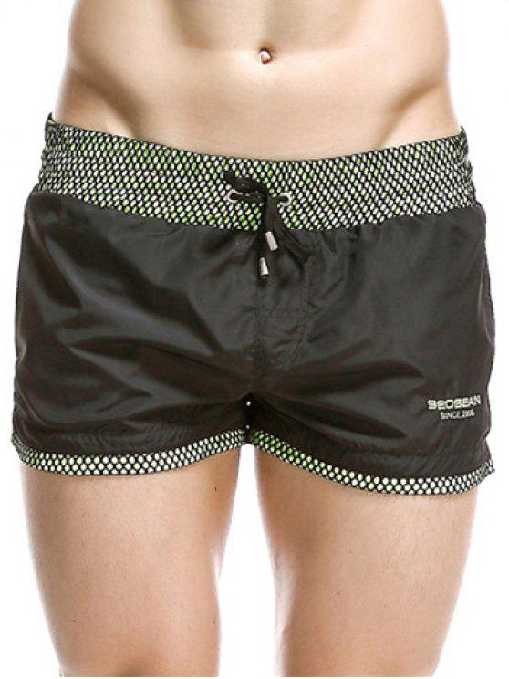 fancy Casual Drawstring Waistband Loose Boxer Shorts - BLACK XL