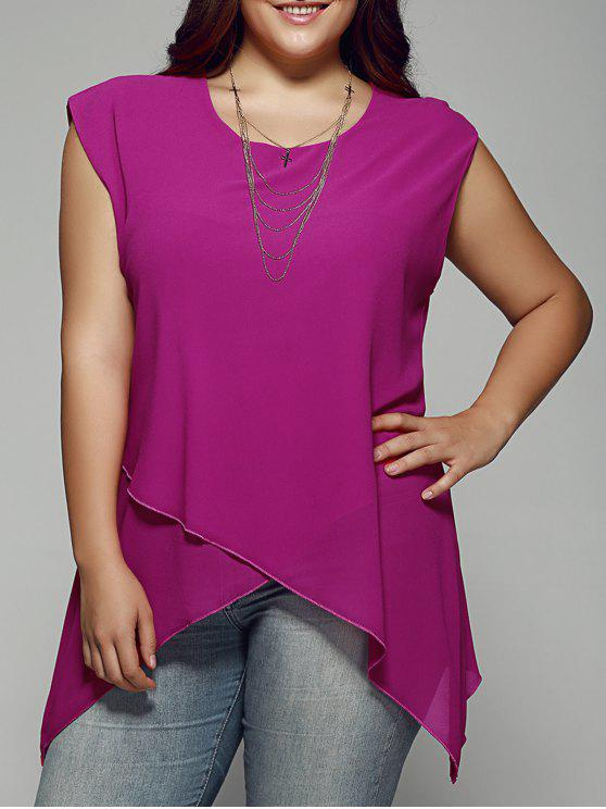 cabcf5c9c1adf7 19% OFF] 2019 Plus Size Asymmetrical Chiffon Blouse In ROSE RED | ZAFUL