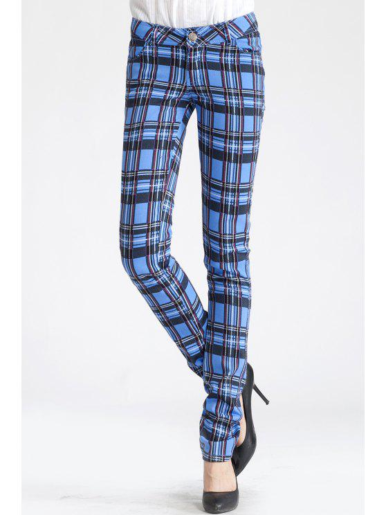 8fad3347f8 31% OFF  2019 Pantalones A Cuadros Lápiz En Azul