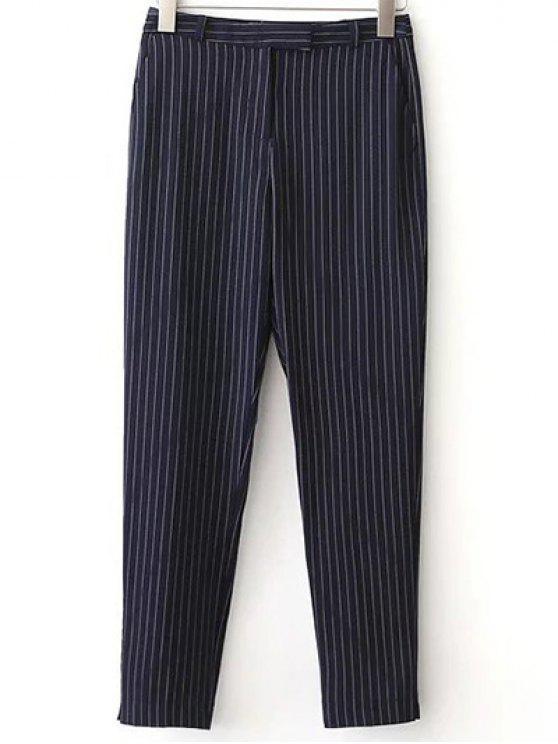 OL Striped poches Pantalons - Bleu Violet S