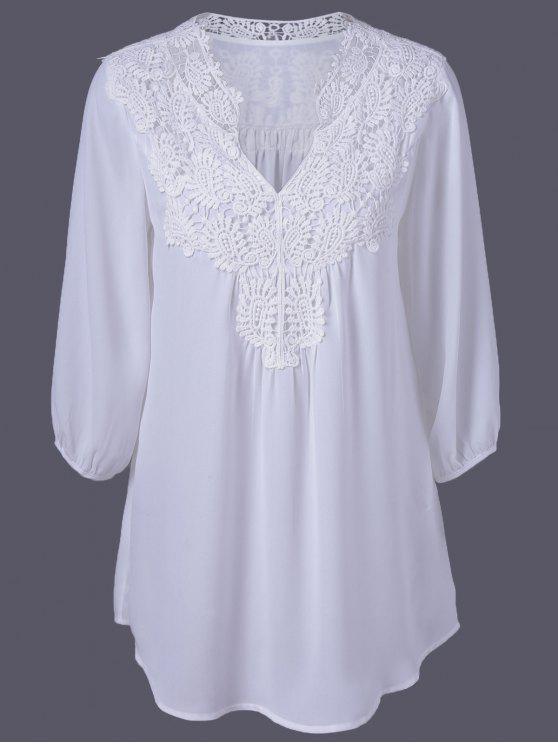 Übergröße Tunika Bluse mit Häkeln Trimm - Weiß 2XL
