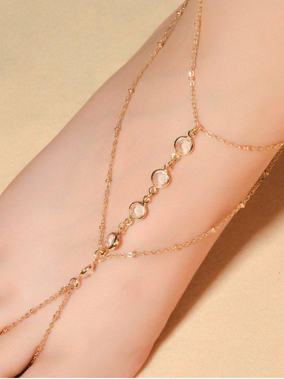 fashion Faux Crystal Beaded Toe Ring Anklet - GOLDEN