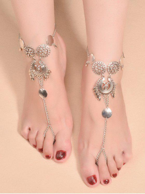 buy Water Drop Sequins Toe Ring Anklet - SILVER