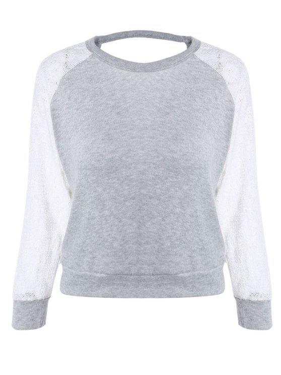 fancy Raglan Sleeve Lace Spliced Backless Sweatshirt - GRAY M