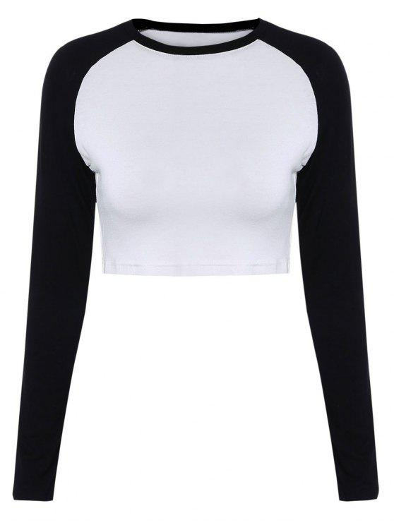 best Raglan Sleeve Color Block Cropped T-Shirt - WHITE AND BLACK M