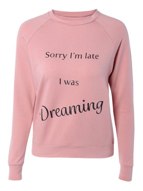 trendy Letter Printed Raglan Sleeve Sweatshirt - PINK M