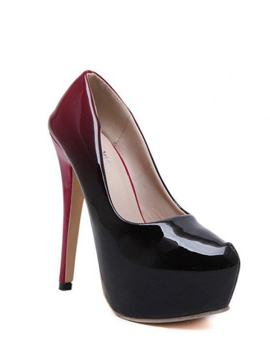 lady Gradient Color Patent Leather Platform Pumps - WINE RED 39