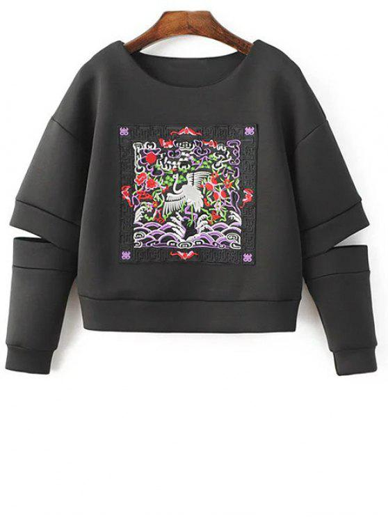 outfits Embroidered Round Neck Cutout Sweatshirt - BLACK M