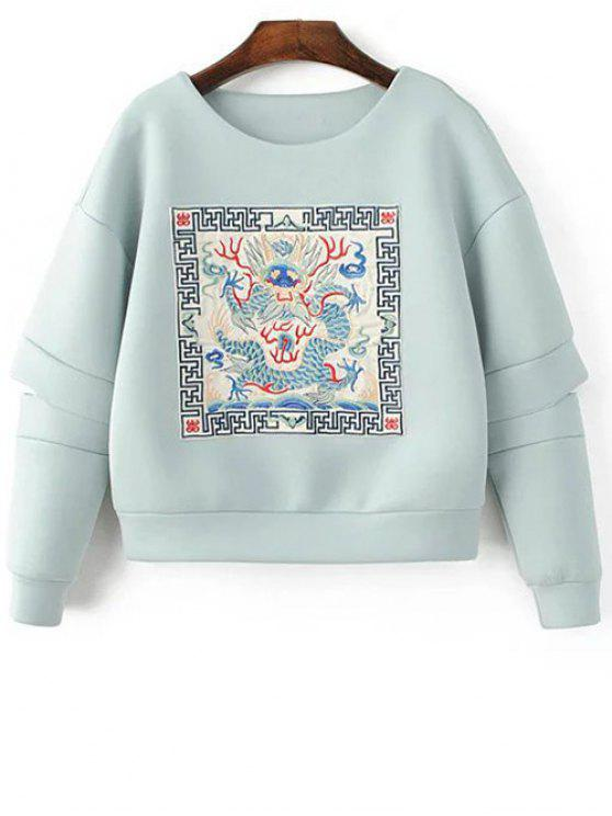 latest Embroidered Round Neck Cutout Sweatshirt - LIGHT BLUE M