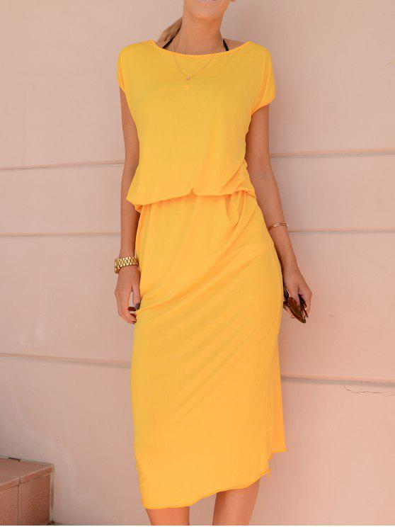 dbe33d1bc9 24% OFF  2019 Yellow Oblique Shoulder Maxi Dress In YELLOW