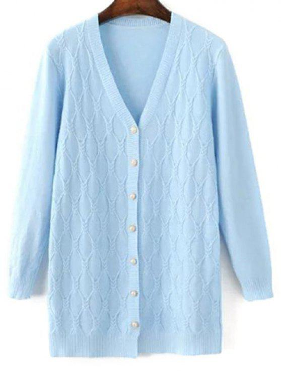 women Argyle V Neck Single-Breasted Cardigan - LIGHT BLUE ONE SIZE