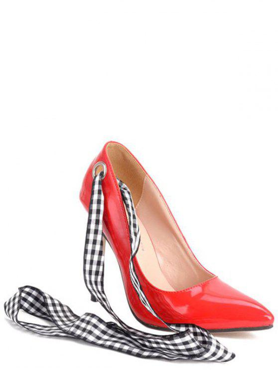 best Asymmetric Ribbons Stiletto Heel Pumps - RED 38