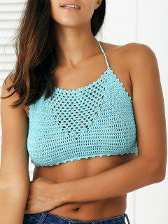 Green Crochet High Neck Swim Top - Blue