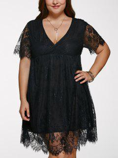 Plus Size Lace Short Cocktail Dress - Black 2xl