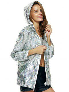 Streetwear Long Sleeve Hooded Metallic Color Plaid Coat - Silver M