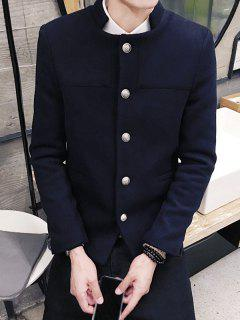 Vintage Stand Collar Button Through Long Sleeve Pure Color Coat For Men - Deep Blue 2xl