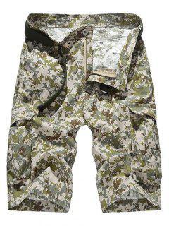 Zipper Fly Straight Leg Camouflage Pattern Pockets Design Shorts For Men - Khaki 36